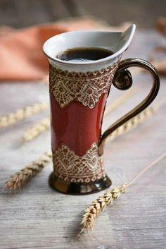 Ceramic Mug Tea Mug Red Mug Unique Mug Ceramics and Keramiktasse Teebecher Rote Tasse Einzigartige Tasse Keramik und Ceramic Cups, Ceramic Pottery, Ceramics Pottery Mugs, Slab Pottery, Thrown Pottery, Ceramic Art, Cerámica Ideas, Turkish Coffee Cups, Red Mug