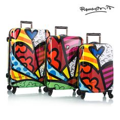 Britto - A New Day by Heys Luggage $900 Britto's A New Day Spinners are part of a Limited Edition Series of luggage. Born in Brazil, Romero Britto is a Florida-based neo-pop artist, painter, serigrapher, and sculptor. http://shop.heys.ca/collections/new-arrivals/products/britto-a-new-day-3pc-set