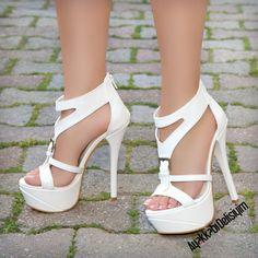 Beyaz Topuklu Gelin Ayakkabısı #wedding #shoes #white #heels