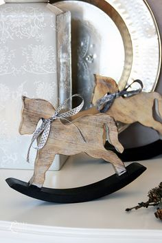 The Little Corner// Christmas Makes, Christmas Wood, Country Christmas, Beautiful Christmas, Christmas Crafts, Merry Christmas, Wood Rocking Horse, Wooden Horse, Wooden Animals