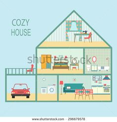 flat cozy house section with interior living room, functional attic, balcony and garage. vector illustration - stock vector