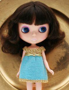 Gold knit dress for Blythe by littleowlforblythe on Etsy, $38.00