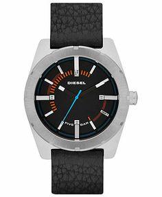 Diesel Watch, Men's Black Textured Leather Strap 44mm DZ1597