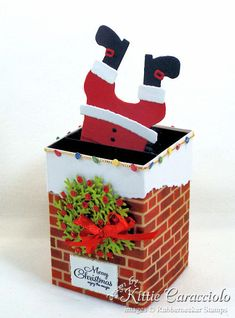 Come see how I made this fun Santa stuck in the chimney box card. Pop Up Box Cards Pop Up Christmas Cards, Christmas Pops, Christmas Greeting Cards, Holiday Cards, Christmas Crafts, Handmade Greetings, Greeting Cards Handmade, Santa Cards Handmade, Handmade Boxes