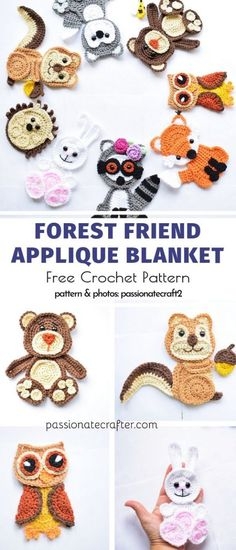 Sweet and Easy Crochet Applique Free Patterns - Aplikationen - Häkeln Crochet Applique Patterns Free, Crochet Animal Patterns, Crochet Patterns Amigurumi, Stuffed Animal Patterns, Crochet Animals, Crochet Appliques, Ravelry Free Patterns, Felt Patterns, Dress Patterns