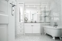 Clawfoot Bathtub, Double Vanity, Alcove, Bathroom, Interior, Design, Clawfoot Tub Shower, Washroom, Indoor