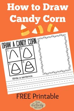 How to Draw Candy Corn for Kids. Free printable drawing tutorial for young learners. How to draw candy corn is perfect for Halloween.   #candycorn #howtodraw #kids #halloween #fall