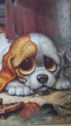 "poster art Big Eyes ""Pity Puppy"" by Gig Art Print Cat. Puppies And Kitties, Kittens, Nostalgia Art, Litho Print, Sad Eyes, Eye Art, Kawaii, Artwork Prints, Illustration Art"