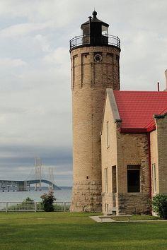 Fourth of July, lighthouse at Mackinaw City (Mackinaw Bridge in the background.), Michigan | Deena Cummins via Pure Michigan