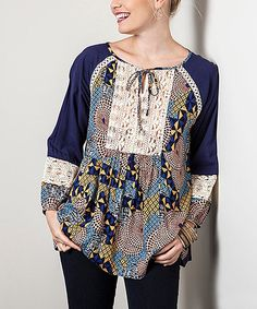 Love this Blue Abstract Embroidered Tie-Front Tunic by Elegant Apparel on #zulily! #zulilyfinds