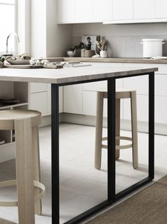 modern black frame on the end of a kitchen island