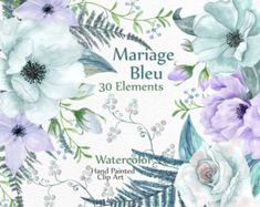 30 Watercolor Clip Art Flower PEONY Flowers Floral Clipart Waterclour Wedding Invitations Diy Elements Greeting Card Peon