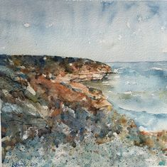 Watercolor Bay Of Islands, Landscapes, Ocean, Watercolor, Artist, Paisajes, Pen And Wash, Scenery, Watercolor Painting