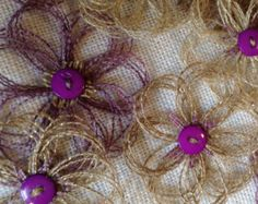 Rustic Purple and Natural Burlap Sparkle Flower Set of 6
