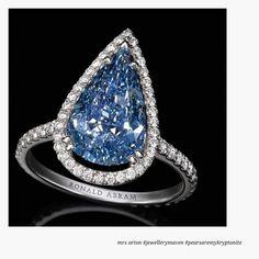 A sensational 3.5 carat Pear Shape Fancy Vivid Blue Diamond Ring by Ronald Abram