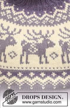 """Reindeer Swing / DROPS - Knitted DROPS jumper with raglan sleeves and reindeer pattern on yoke in """"Nepal"""". Knitting Charts, Sweater Knitting Patterns, Knitting Socks, Knit Patterns, Free Knitting, Drops Design, Crochet Crafts, Knit Crochet, Pull Jacquard"""