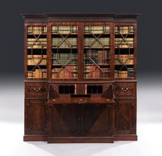 George II period carved mahogany four-door breakfront secretaire bookcase with original gilt brass handles, in the manner of William Hallett. Georgian Furniture, Antique Furniture, Modern Furniture, Dining Room Furniture, Furniture Making, Wilton House, London House, Cupboard Doors, Cabinet Makers