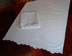 Em's Heart Antique Linens -Monogrammed Antique Pillowcases