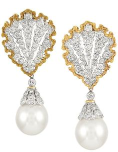 Pair of Two-Color Gold, Diamond and Cultured Pearl Pendant-Earrings, Mario Buccellati.