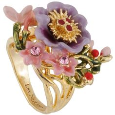 Les Néréides WINTER GARDEN PURPLE FLOWER WITH LITTLE FLOWERS AND... ($139) ❤ liked on Polyvore featuring jewelry, rings, jewelry rings, purple, berry jewelry, heart shaped rings, heart ring, purple rings and purple heart ring