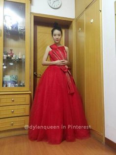 Dylan Queen Red Ball Gown Prom Dresses Long