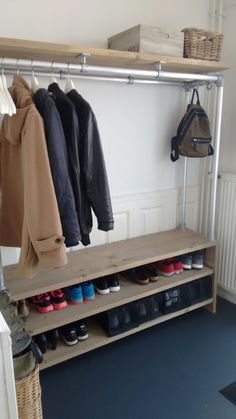 Small Dressing Rooms, Hallway Shoe Storage, Garage Storage Solutions, Diy Organisation, Lets Stay Home, Clothes Rail, Home Trends, Master Closet, Mudroom
