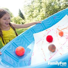 Pool Painting: This activity lets you turn the kiddie pool into an impromptu art lab. Kids can experiment by working with balls of different sizes, textures, and heft, from golf to playground.