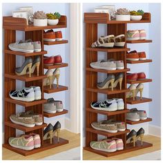 Details about Home Decor Wood MDF Solid Shelf Shoe Rack Organizer Entryway Bedroom 6 7 Tiers - All About Balcony Craft Storage Cabinets, Shoe Storage Shelf, Shoe Rack Organization, Kitchen Storage Boxes, Rack Shelf, Diy Storage, Storage Ideas, Shoe Rack On Wheels, Wood Shoe Rack