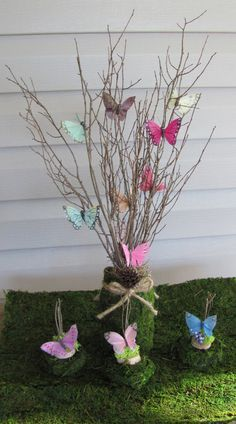 2 Wedding Centerpieces Butterfly Branches by flowerfilledweddings
