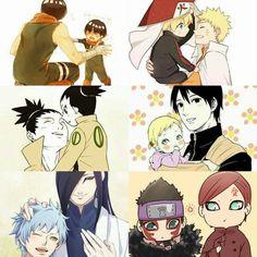 The New Generation Fathers: Rock Lee-Metal Lee, Naruto-Boruto, Shikamaru-Shikadai, Sai-Inojin, Orochimaru-Mitsuki, Gaara-Shinki ♥♥♥