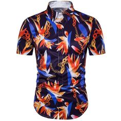 Chain Floral Print Cover Placket Hawaiian Shirt (35 BAM) ❤ liked on Polyvore featuring men's fashion, men's clothing, men's shirts, men's casual shirts, mens hawaiian shirts, men's flower print shirt, men's hawaiian print shirts and mens floral print shirts