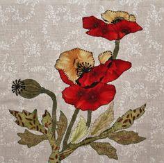(7) Name: 'Quilting : Poppy Appliqué Quilt Block