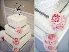 Pink and grey wedding cake // Pink peonies // Wedding Cake // Monogram cake topper // Three-layer cake
