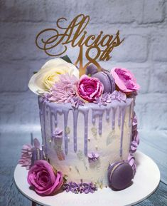Purple Drip cake with flowers, macarons and gold leaf By Sugar Whipped Cakes – Purple and Gold themed drip cake Birthday Cakes For Men, Birthday Cake With Flowers, 18th Birthday Cake, Homemade Birthday Cakes, Birthday Cake Toppers, Dance Birthday Cake, Girly Cakes, Purple Cakes, Mom Cake