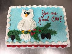 Owl birthday cake by Laurie Grissom Owl Cake Birthday, Sweets, Cakes, Desserts, Inspiration, Sweet Pastries, Biblical Inspiration, Gummi Candy, Candy Notes