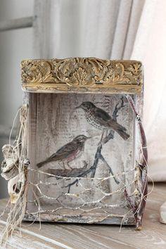FRENCH Bird Nesting Box Vintage wood BOWER Bird French