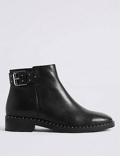 8e799abd2a7 Leather Block Heel Strap Stud Ankle Boots