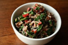 Recipe for brown & wild rice salad with kale & piquillo peppers from Food52.