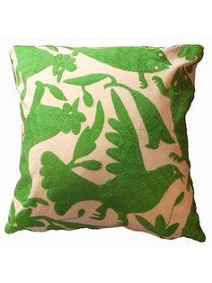 Jacaranda Green Otomi Pillow