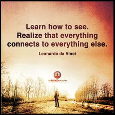 Learn how to see. Realize that everything connects to everything else.