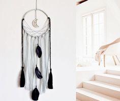 Moon dream catcher, wall hanging, large, handmade, black, gray, macrame, wall decor, boho, bohemian, nursery decor, moon, dream catcher