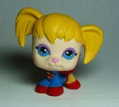 Littlest Pet Shop Superman Supergirl Custom figure LPS OOAK Superhero JL  #Hasbro