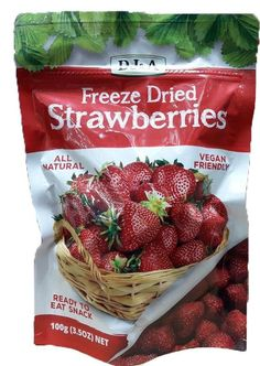 DJ&A Freeze Dried Strawberries 100 g Freeze Dried Strawberries, Dried Fruit, Freeze Drying, Vegan Friendly, Preserves, Seeds, Strawberry, Fat, Colours