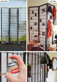 Upcycle and Old Screen into a Room Divider with Storage | Click Pic for 25 DIY Small Apartment Decorating Ideas on a Budget | Organization Ideas for Small Spaces