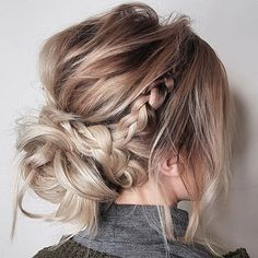 braid leading into a messy bun, super cute hairstyle. Good for dates
