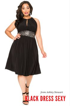 331a893a7c3 Sequin Lace Halter Dress-Plus Size Dresses-Ashley Stewart