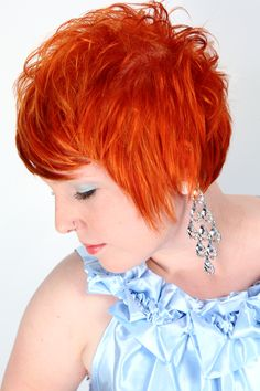 Womans Short Hair - Color Bright Red Orange - Hair Created By Amanda Marie - Makeup Created By @Patrick Boltinghouse - Photography Created By @Dan Welk - Model @Amy Wonderlin