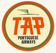 Old logo for TAP, Portugal's airline. Tourism Poster, Travel Posters, Vintage Wall Art, Vintage Posters, Portugal Logo, Vintage Luggage Tags, Luggage Stickers, Airline Logo, Logo