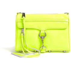 Rebecca Minkoff Neon Yellow Mini Mac Clutch With Chain Shoulder Strap found on Polyvore