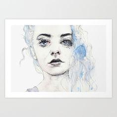 aquamarine freak Art Print by Agnes-cecile - $20.00